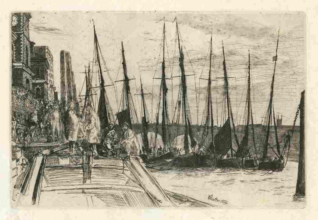 "191: Whistler original etching ""Billingsgate"""