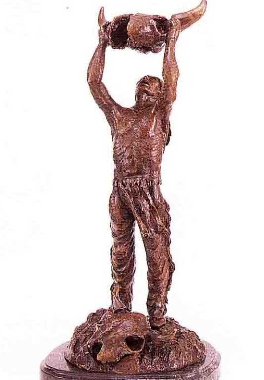 "17: ""Calling the Buffalo"" Bronze Sculpture - Remington"