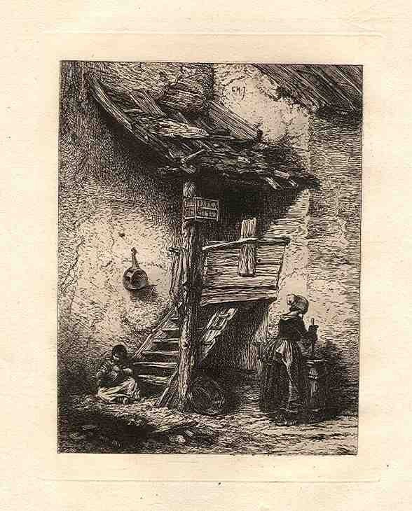 """25: Jacque """"A Rustic Stair"""" original etching"""