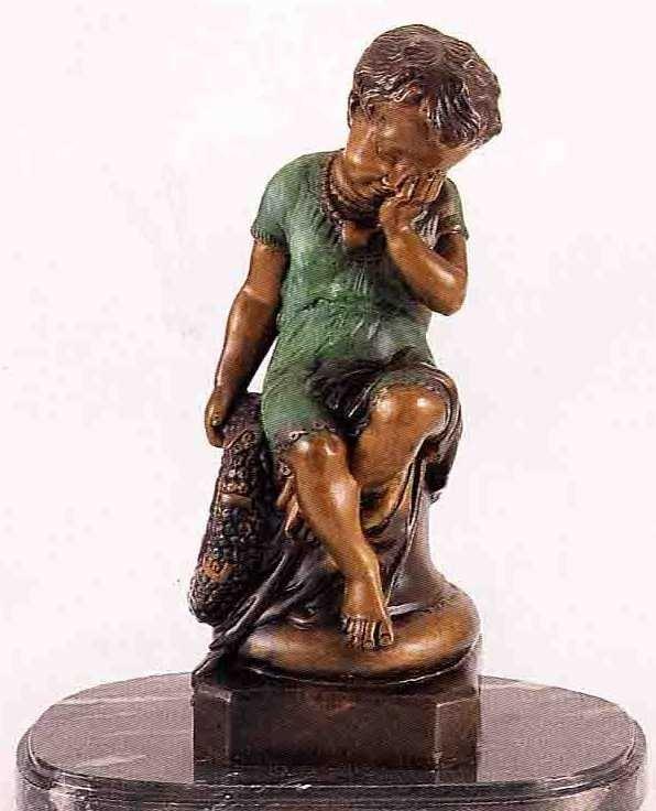 """31: """"Crying Girl"""" Bronze Sculpture - A.  Moreau"""