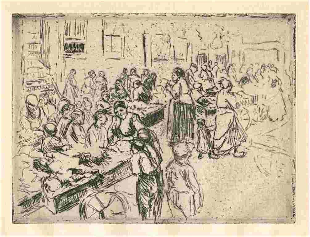 """37: Liebermann """"Amsterdam Jewish Quarter"""" original etch"""