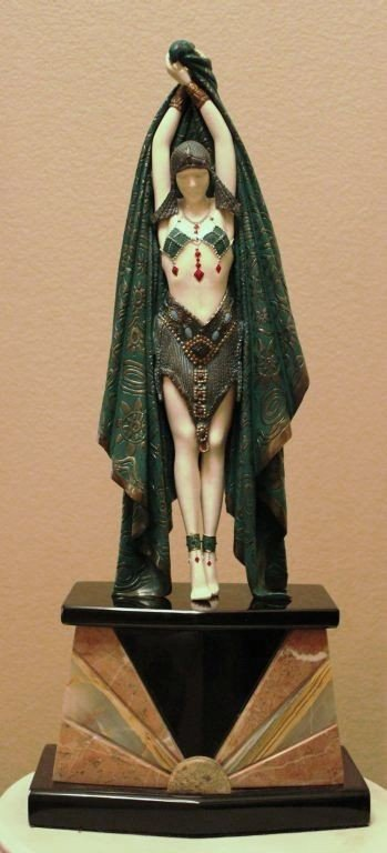 """789: CHIPARUS - """"ANTINEA"""" -BRONZE AND IVORY SCULPTURE"""