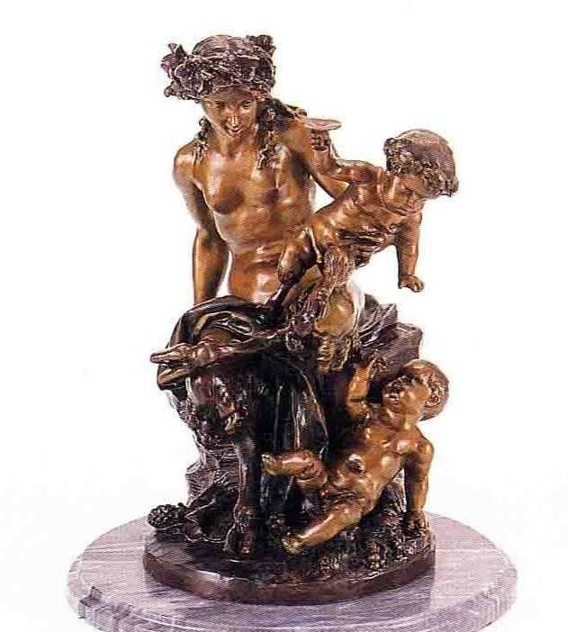 "5: ""Female Satyr Group"" Bronze Sculpture - Clodion"