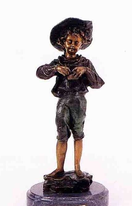 "19: ""Harvest Pickin' Boy"" Bronze Sculpture - Morie"