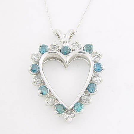 31: 1.5 CTW. BLUE & WHITE DIAMOND HEART PENDANT - 10KW