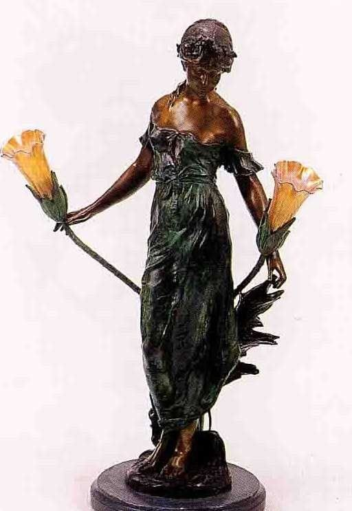 "43: ""Maiden"" Bronze Sculpture Lamp - A. Moreau"