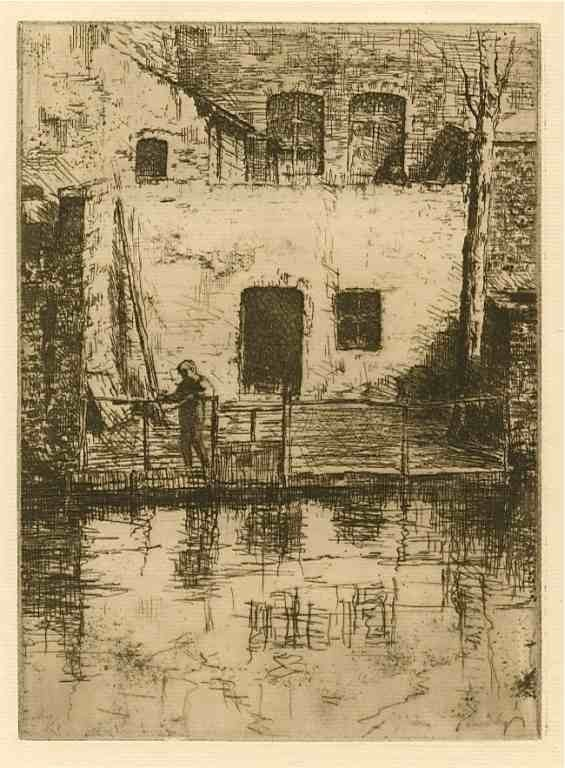 "1269: Beurdeley ""Un coin à Bruges"" original etching"
