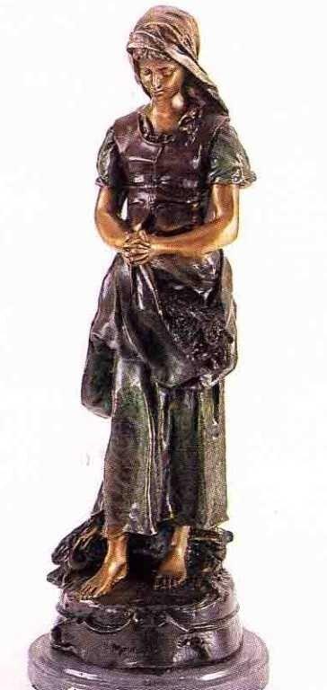 "5: ""Praying Woman"" Bronze Sculpture - A.  Moreau"