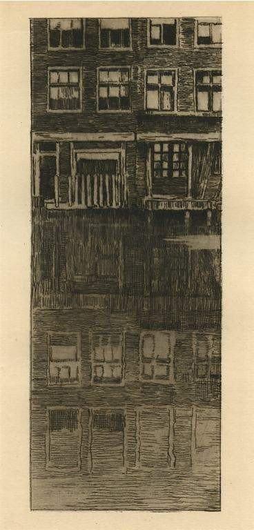 """21: 1909 Albert Baertsoen """"Reflets"""" original etching"""