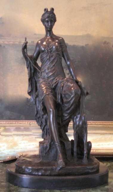 "25: ""VICTORIAN LADY AND GREYHOUND"" Bronze Sculpture"