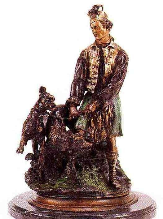"29: ""Scottish Hunter With Hounds"" Bronze Sculpture - Me"