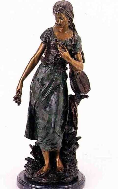 "43: ""Standing Mandolin Woman"" Bronze Sculpture  - A. Mo"