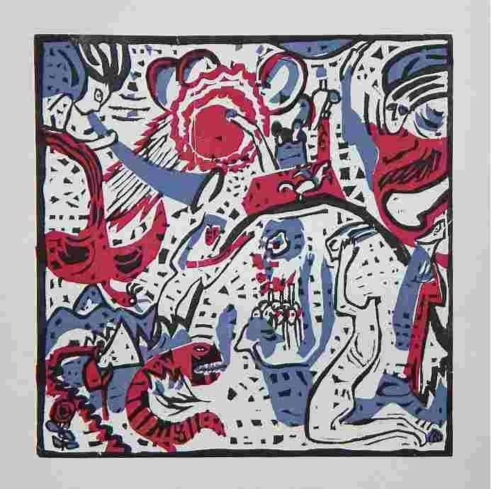 "49: Wassily Kandinsky original woodcut ""Grosse Auferste"