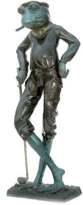 "7: ""Golfer Frog"" Monumental Bronze Sculpture"