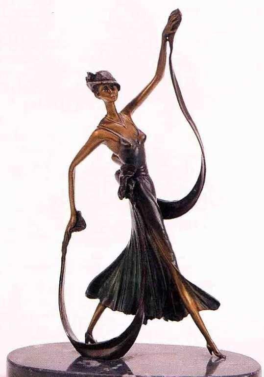 "27: ""Summer Stroll"" Bronze Sculpture - Chiparus"