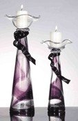 35: Hand Blown Art Glass Candle Holders (pair)