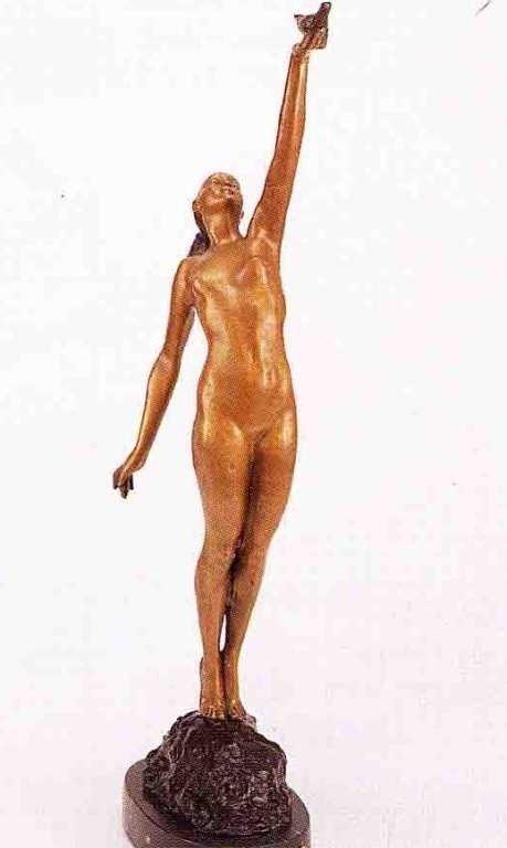 """15: """"Girl With Dove"""" Bronze Sculpture - LeFaguays"""