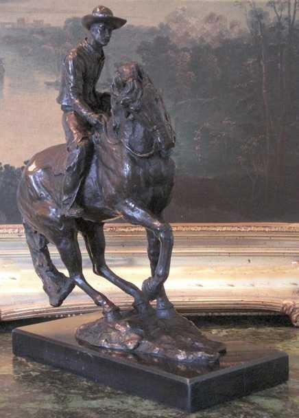 "25: ""COWBOY AND HORSE"" Bronze Sculpture"