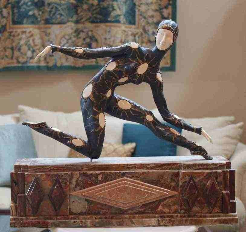 "1: CHIPARUS - ""LEOTARD"" -BRONZE AND IVORY SCULPTURE"