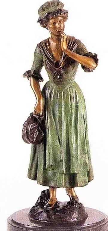 "3: ""Girl Holding Purse"" Bronze Sculpture - A. Moreau"