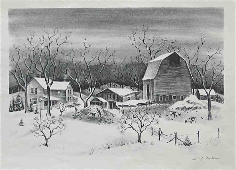 14: Adolf Dehn signed original lithograph Winter Scene