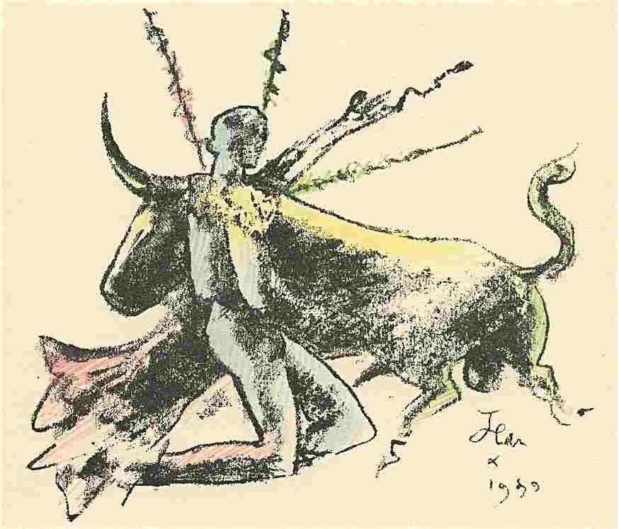 17: Jean Cocteau original lithograph (Torero)