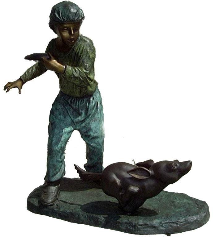 """21: """"Frisbee"""" Jumbo Bronze Sculpture"""