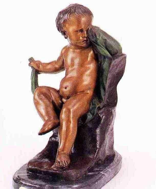 "17: ""Crying Boy"" Bronze Sculpture - A.  Moreau"