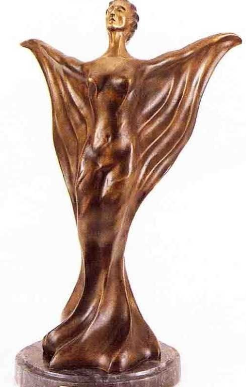 "8: ""Golden Veil"" Bronze Sculpture Inspired - Icart"
