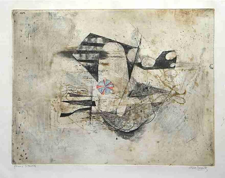 "870: Johnny Friedlaender aquatint ""Poissons III - Fleur"