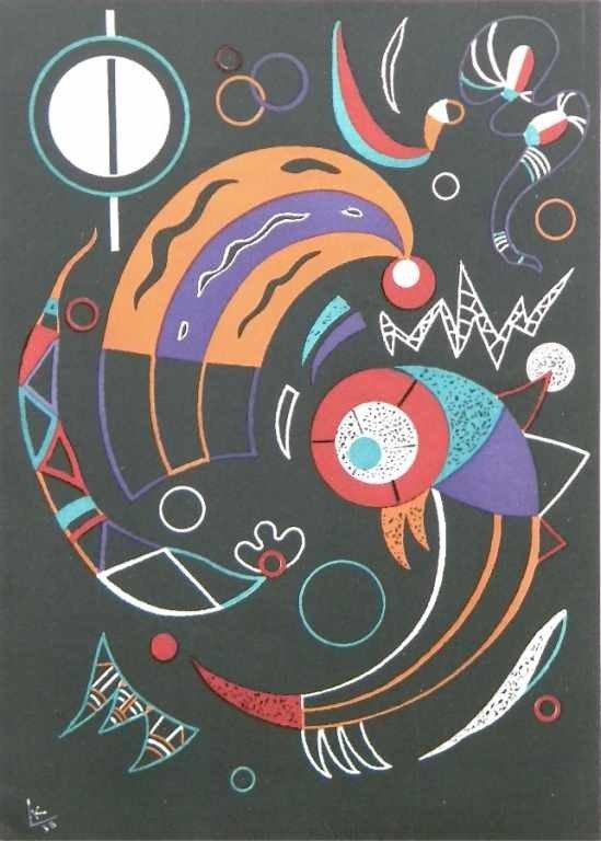 """5: Kandinsky """"Comets"""" original lithograph"""