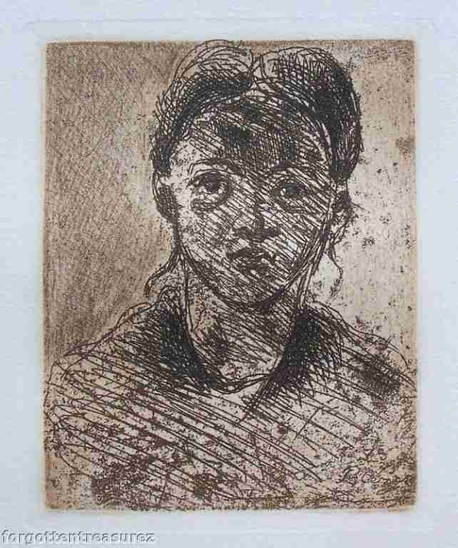 """9: CEZANNE """"HEAD OF A YOUNG GIRL"""" ETCHING"""
