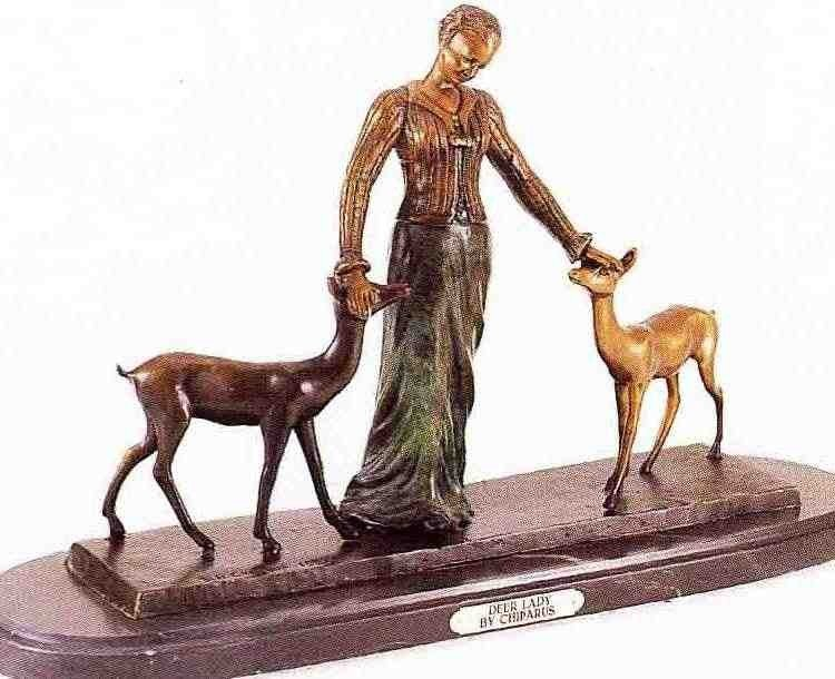 "14: ""Deer Lady"" Bronze Sculpture - Chiparus"