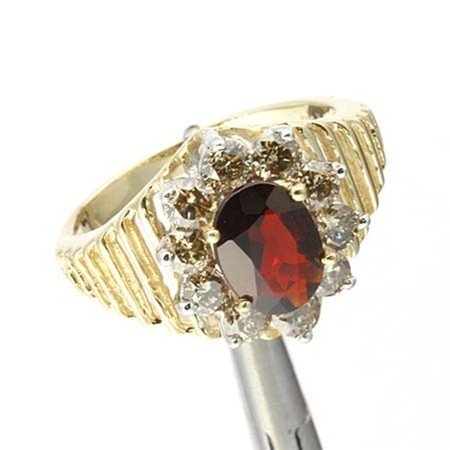 20A: 2.0 CTW. GARNET & DIAMOND RING IN 10KY GOLD