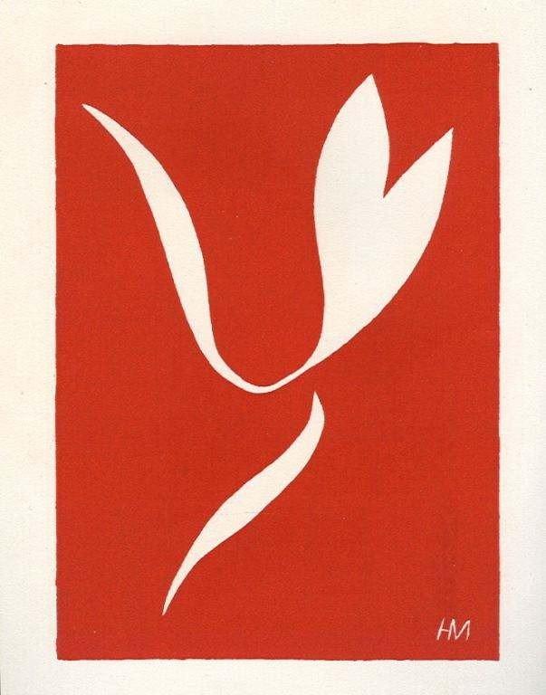 """59: Matisse linocut """"Skater in Motion I"""""""