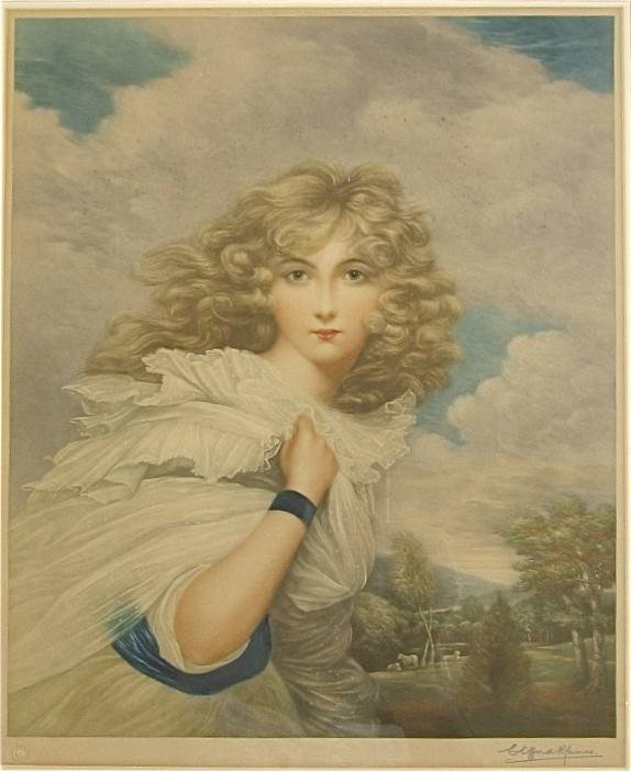 "455: Gainsborough mezzotint ""Lady Spencer"""