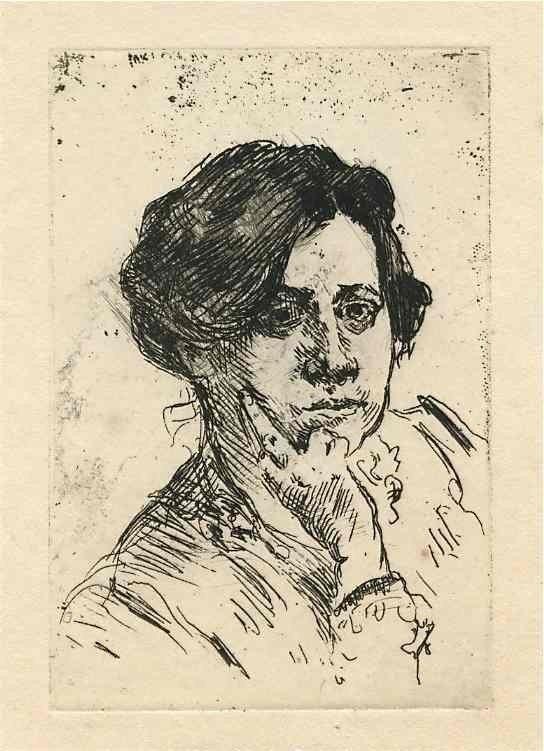 "9: Lovis Corinth original etching ""Frauenkopf"""