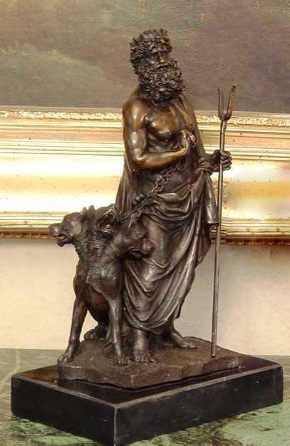 """13: """"HADES AND CHEREBUS"""" Bronze Sculpture"""