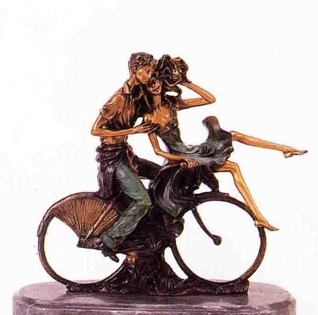 """25: """"Bicycle Love"""" Bronze Sculpture Inspired - Icart"""