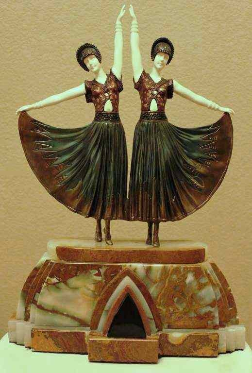 """104: CHIPARUS - """"DOLLY SISTERS"""" -BRONZE AND IVORY SCULP"""