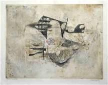 "489: Johnny Friedlaender aquatint ""Poissons III - Fleur"