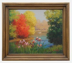 "15: ""SPRING POND"" - ORIGINAL OIL ON CANVAS - MINT"