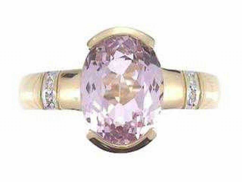38: 14K KUNZITE & DIAMOND RING