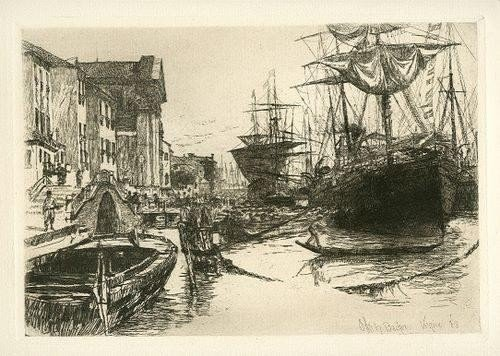 "43: 1880 BACHER ORIGINAL ETCHING ""VIEW IN VENICE"""