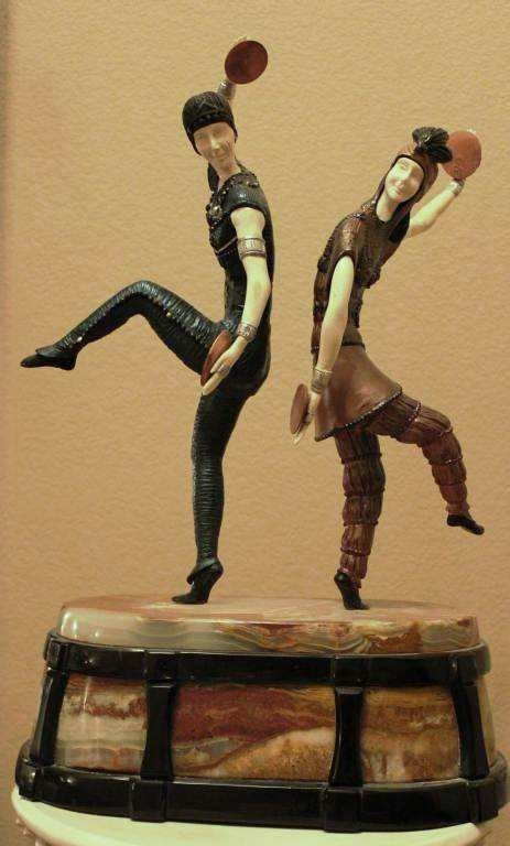 "18: ""RUSSIAN DANCERS"" -BRONZE AND IVORY SCULPTURE"
