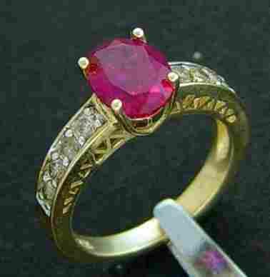 2.50 CTW DIAMOND & CREATED RUBY RING