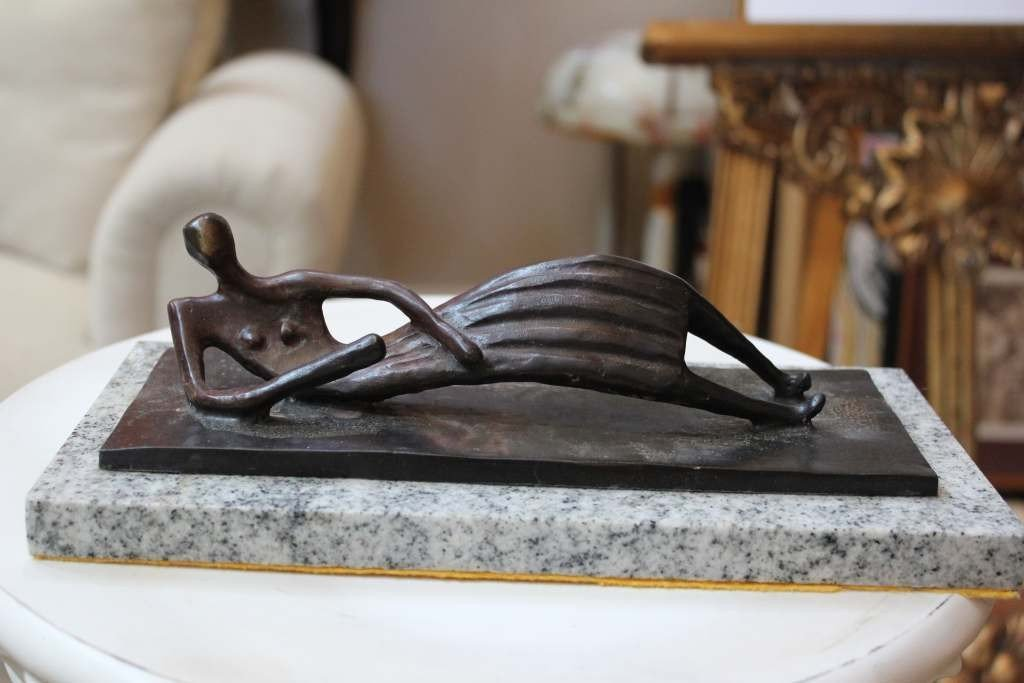 """560A: MOORE   """"RECLINED WOMAN"""" BRONZE"""