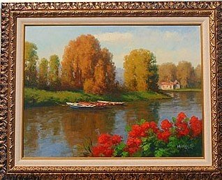 """1: """"BOATS ON A POND"""" - ORIGINAL OIL ON CANVAS"""