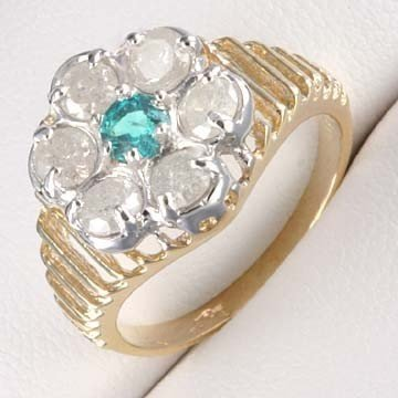 14: 1.0 CTW. DIAMOND &  EMERALD RING IN 10KY GOLD