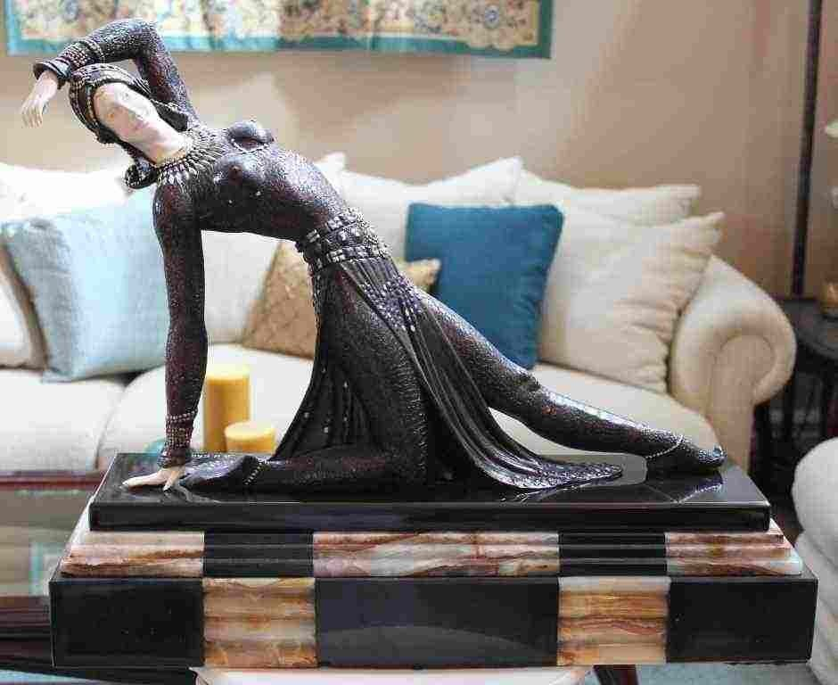 """36: CHIPARUS - """"EXOTIC DANCER"""" -BRONZE AND IVORY SCULPT"""